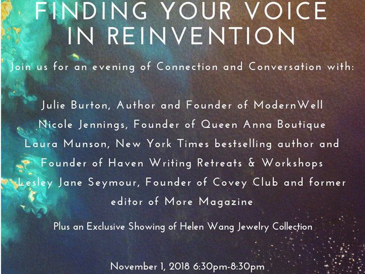 Finding Your Voice in Reinvention-An Evening of Connection and Communication